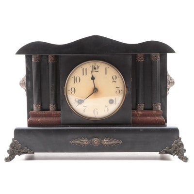 Waterbury Clock Co. Lacquered Wood Pilaster Mantel Clock, Late 19th Century