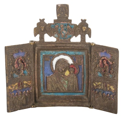 Eastern Orthodox Bronze and Enamel Triptych Icon