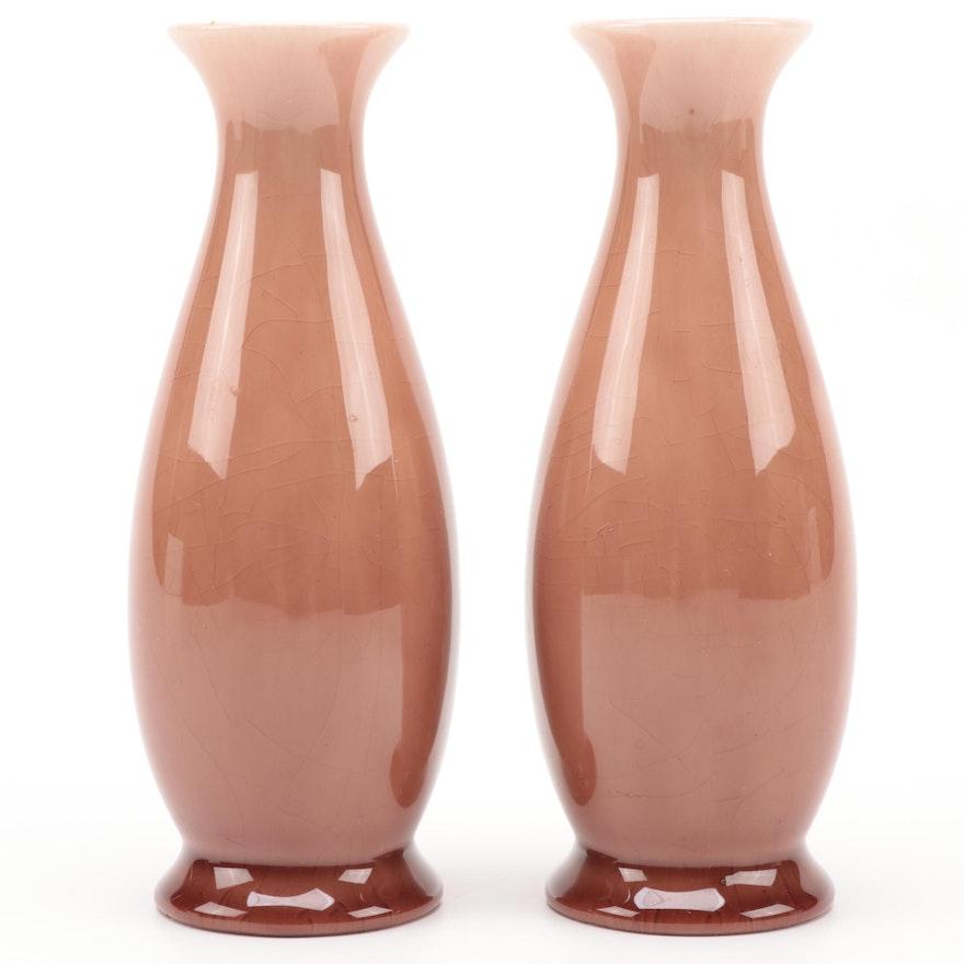 Pair of Rookwood Pottery Glazed Ceramic Vases, 1946