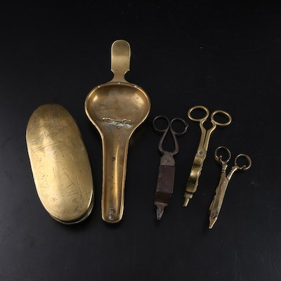 Brass Oil Lamp with Candle Wick Trimmers and Engraved Trinket Box