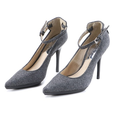 MICHAEL Michael Kors Grey Wool Ankle Strap Pumps with Silver Tone Logo Counters
