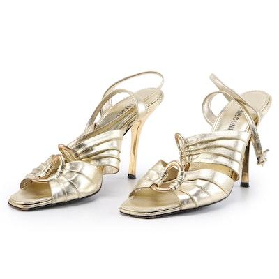 Missoni Gold Metallic Leather High-Heeled Sandals