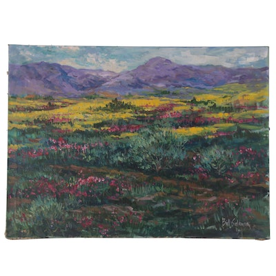 Bill Salamon Purple Mountain Landscape Acrylic Painting, Late 20th Century