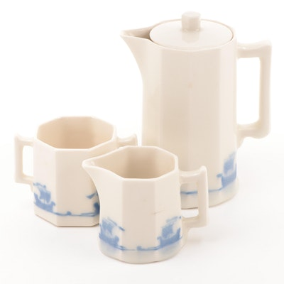 Rookwood Pottery Blue Ship Coffee Set, Late 19th Century