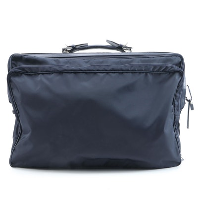 Céline Navy Blue Nylon Suitcase with Leather Trim