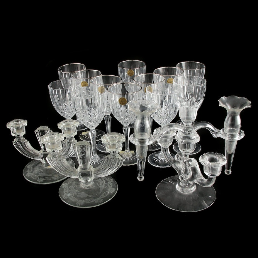 "Cristal d'Arques ""Constance"" Water Goblets and Glass Epergne and Candelabra"