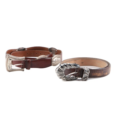 Fossil and Anna Bella Brown Leather Belts