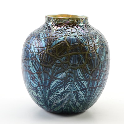 Orient & Flume Iridescent Crackle Blown Glass Vase, 1978
