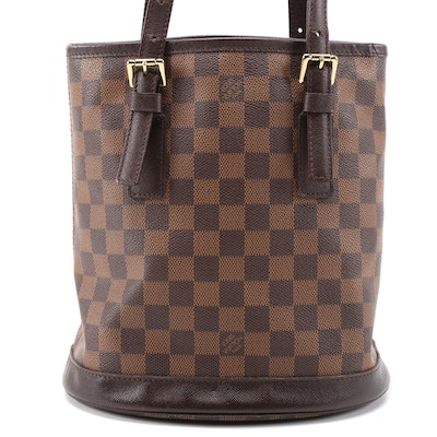 Louis Vuitton Marais Bucket Bag in Damier Ebene Canvas and Taiga Leather