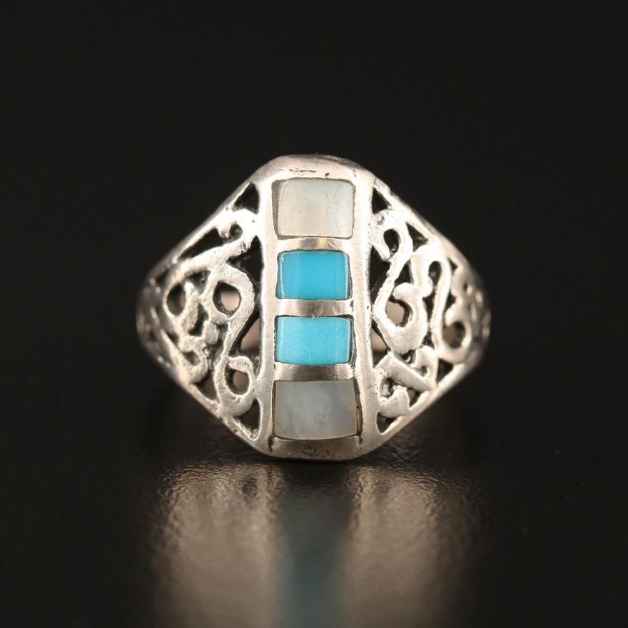 Sterling Silver Open Work Turquoise and Mother of Pearl Inlay Ring