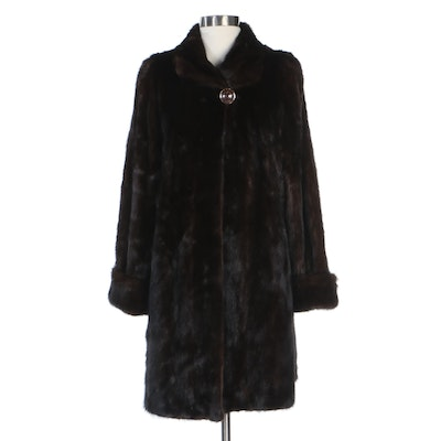 Natural Mahogany Female Mink Fur Three-Quarter Length Coat