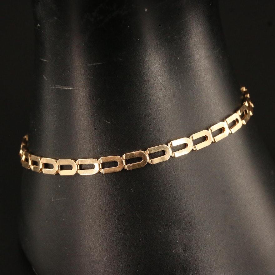 14K Rectangular Link Bracelet