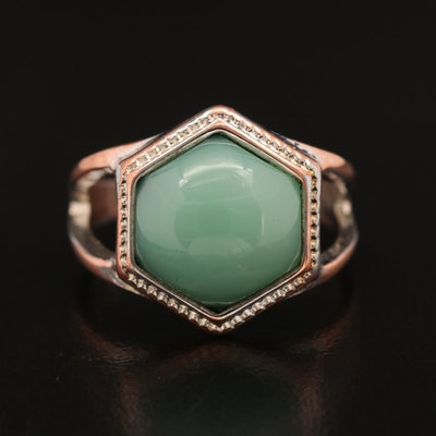 Hexagon Shaped Ring with Teal Colored Glass Cabochon