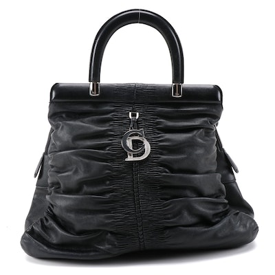 Christian Dior Karenina Tote Bag in Black Lambskin Leather