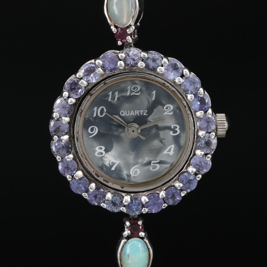 Sterling Silver and Gemstone Quartz Wristwatch