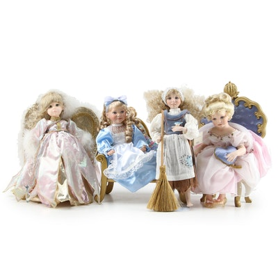 Ashton Drake Porcelain Dolls Including Cinderella and Alice in Wonderland