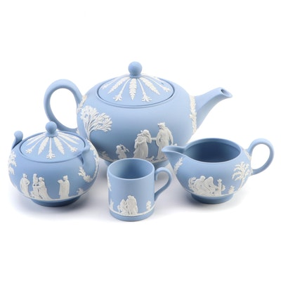 Wedgwood Cream on Light Blue Jasperware Tea Set