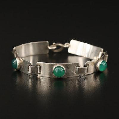 Georg Kramer Modernist 835 Silver Chalcedony Panel Bracelet