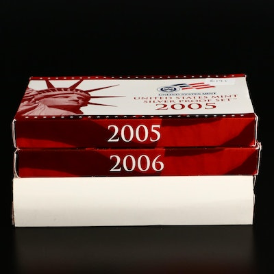 Three U.S. Mint Silver Proof Sets, 2005 to 2007