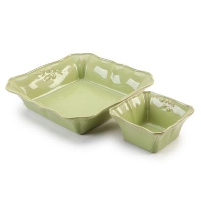 Portuguese Arenito Green Glazed Stoneware Serving Bowls
