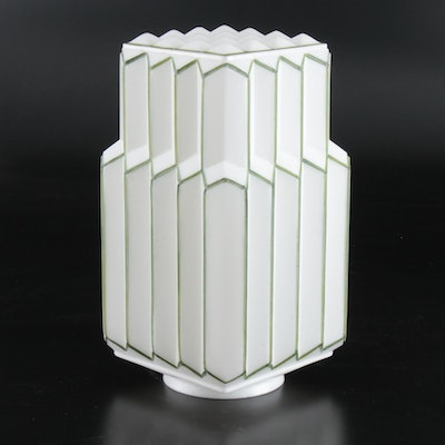 Art Deco Painted Milk Glass Skyscraper Shade, 1920s