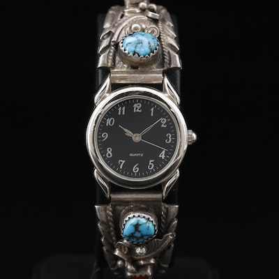 Tino U.S.A. Watch with Fannie Platero Navajo Diné Sterling Turquoise Bracelet