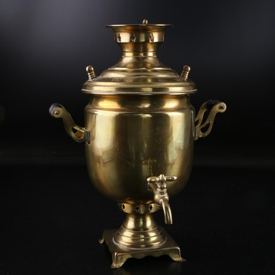 Russian Brass Conical Shaped Samovar
