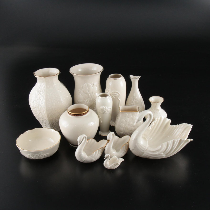 """Lenox """"Tulip Splendor"""" with Other Floral Vases and Swan Form Bowls"""