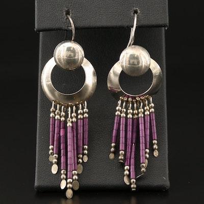 Western Style Sterling Silver Fringe Earrings