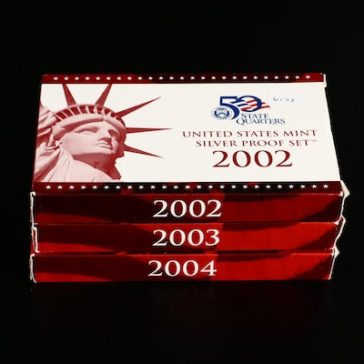 Three U.S. Mint Silver Proof Sets, 2002 to 2004