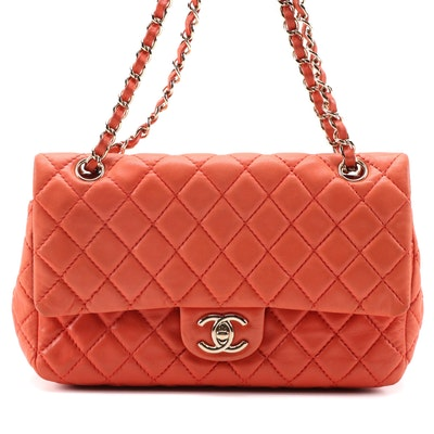 Chanel Classic Double Flap Bag in Quilted Coral-Colored Lambskin