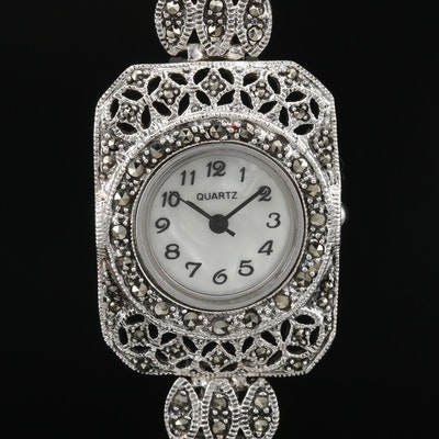 Sterling Silver and Marcasite Quartz Wristwatch