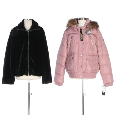 Bebe and Bellivera Dusty Rose Puffer and Black Faux Fur Jackets