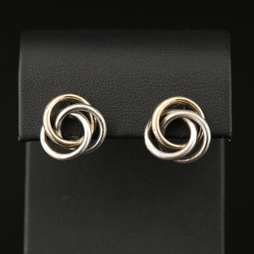 Sterling Silver Interlocking Earrings with 14K Accents