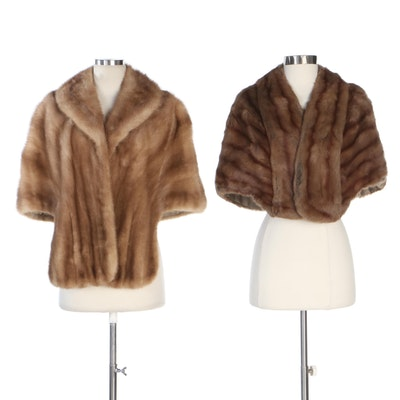 Mink Fur and Squirrel Fur Stole by Edward Ernstein and Hahne & Company, Vintage