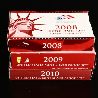 Three U.S. Mint Silver Proof Sets, 2008 to 2010