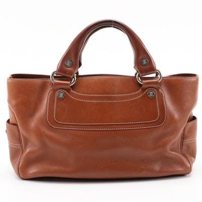 Céline Boogie Bag in Brown Leather with Contrast Stitching