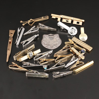 Selection of Sterling Tie Clips Featuring Engraved Decanter Tag and Krementz