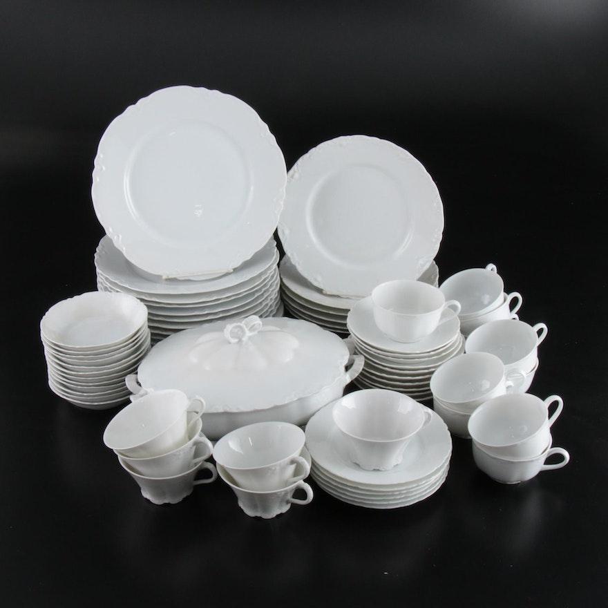 German White Floral Porcelain Dinnerware Pieces, 20th Century