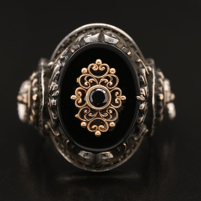 Sterling Silver Black Onyx and Cubic Zirconia Ring with Door Knocker Accents