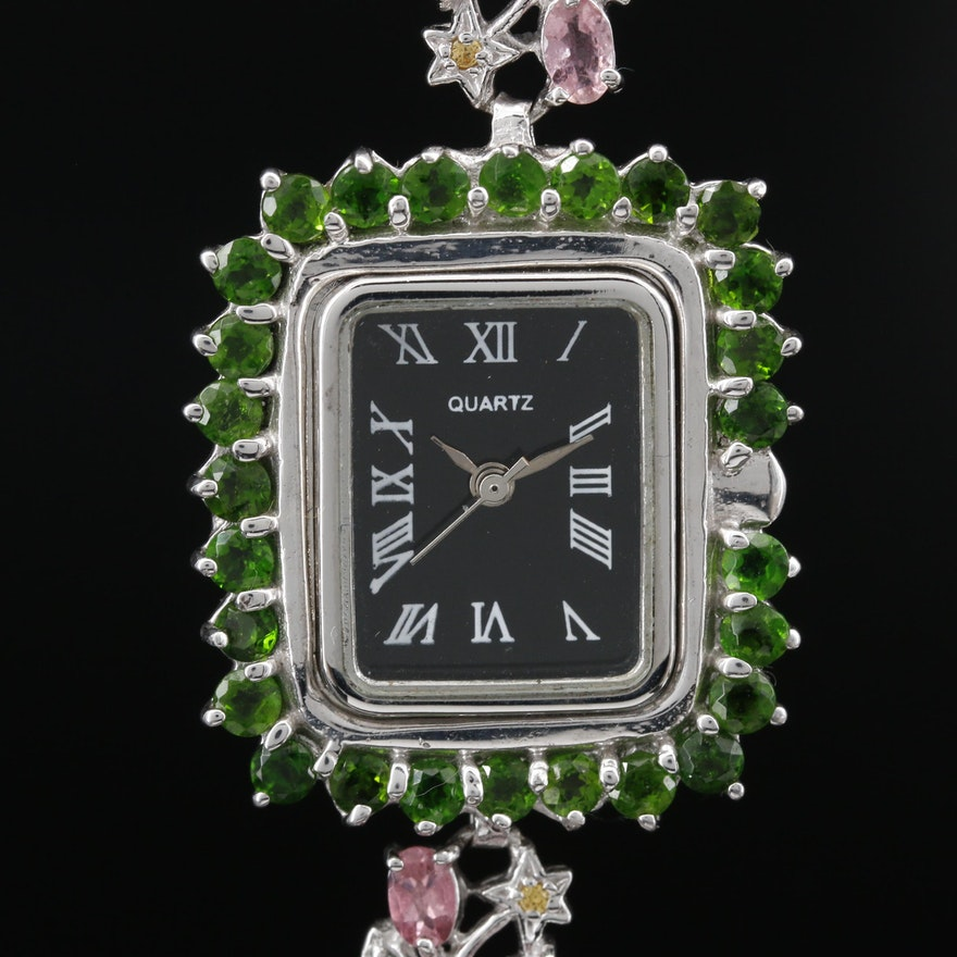 Sterling Silver and Gemstone Quartz Wristwatch