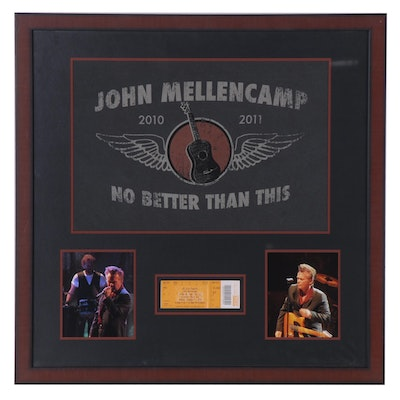 John Mellencamp Concert Display with Signed Card, Framed
