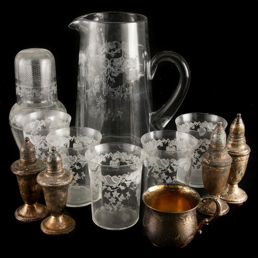 Sterling Silver Cup and Shakers with Etched Glass Pitcher, Tumblers and Shaker