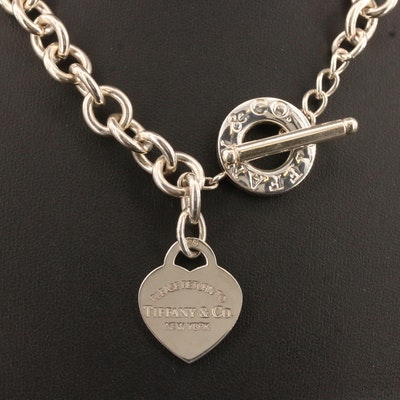 "Tiffany & Co. ""Return to Tiffany"" Sterling Silver Heart Tag Toggle Necklace"