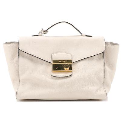 Prada Two-Way Flap Bag in Off-White Vitello Daino Leather