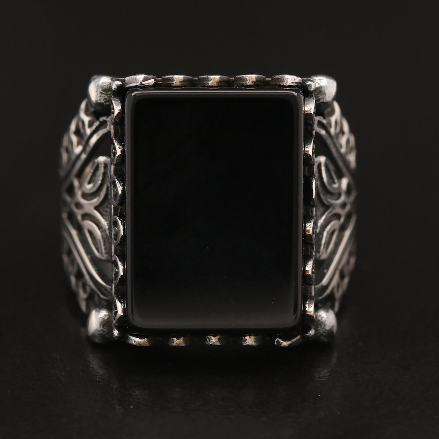 Sterling Black Onyx Ring with Openwork Shoulders