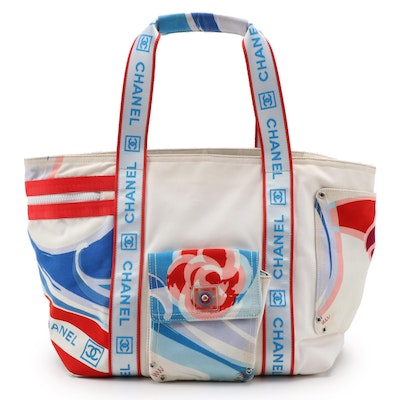 Chanel Sport Tricolor Printed Canvas Shopper Tote