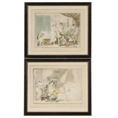 "Offset Lithographs After Thomas Rowlandson ""Four O'Clock"", Late 20th Century"