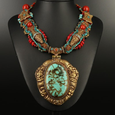Tibetan Style Necklace with Howlite, Coral and Turquoise