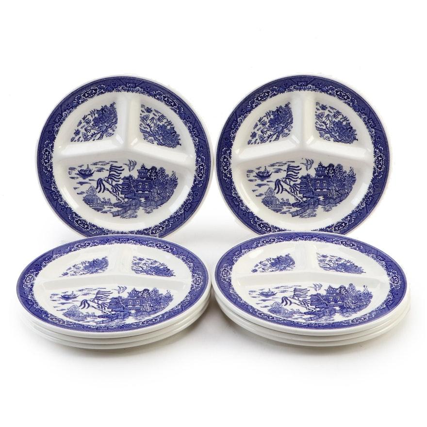 "Royal China ""Blue Ware"" Ceramic Grill Plates, Mid-20th Century"